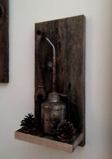 Hand crafted wall art, Aged wood, Vintage Oil Can & Rustic O/E wrench