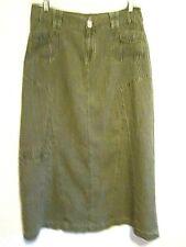 CHRISTOPHER & BANKS Ramie Cotton Olive Green Long SKIRT sz 8 Cargo Pocket