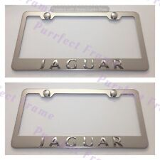 2X Jaguar 3D Emblem Stainless Steel License Plate Frame Rust Free W/ Boltcap