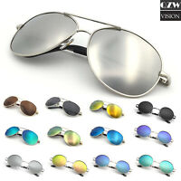 Aviator Circle Mirrored Sunglasses for Women Men Classic Sports Pilot Vintage