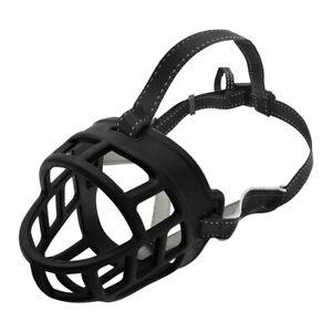 Soft Rubber Dog Reflective Muzzles Adjustable for Pet No Bark Bite Secure Basket