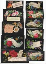 11 Victorian 1870s Xmas Cards. Visiting card style with black backgrounds
