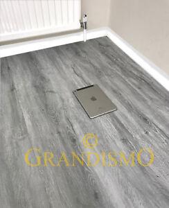 LVT Luxury Click Vinyl Flooring 100% Waterproof Bathroom Grey Planks Oak