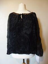 Rosemarine Floral Sequin Neckline Crinkle Silk Blend Top Blouse 18 BNWT Black