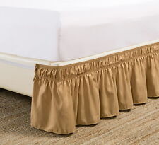 """1 Gold Full Wrap Around Elastic Bedding Bed Dressing SKIRT 14"""" inch Drop"""