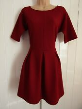 Asos Burgundy Red Stretch Pleated Fit & Flare Zip Back Skater Dress - Size 14