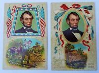 Vintage ABRAHAM LINCOLN Postcard Lot~ Rail splitter ~ Birthplace~flag~embossed