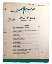 "Vintage 1961 Advanced Products Company Metal ""O"" Ring Manual Catalogue Cut Sheet"