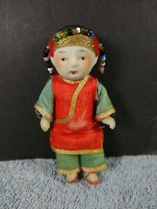 """Vintage Miniature Jointed Chinese ASIAN Bisque Boy Dollhouse Doll 3 3/4"""""""