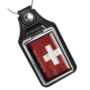 Red White Ski Patrol Cross Sign Old Wood Design Faux Leather Key Ring