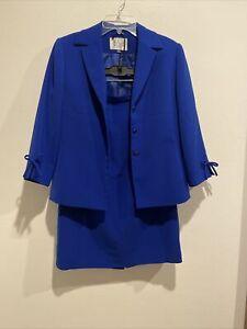 Vintage Le Suit Petite 2 Piece Skirt & Jacket Suit Set Size 4P Royal Blue