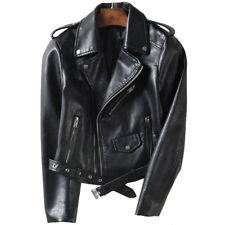 Womens PU Leather Slim Motorcycle Biker Jacket Ladies Zipper Lapel Coat Outwear