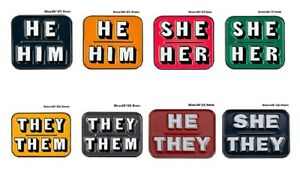 They/Them, She/Her, He/Him, He/They, She/They Pronoun Enamel Pin Badge