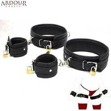 Real Cow Hide Leather Padded & Locking Thigh & Wrist Cuffs Restraints Set