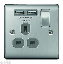 BG Nexus NBS21U2G Satin Chrome Single Socket /USB Charger Ports Brushed Steel
