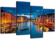 Large Blue Venice Italy Canvas Wall Art Pictures Set XL 130cm - 4068