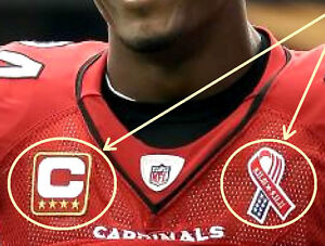 ARIZONA CARDINALS CAPTAINS JERSEY FOUR- 4-STAR RED IRON-ON PATCH + 911 RIBBON
