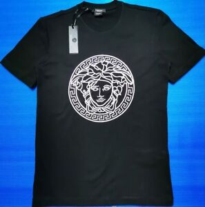 VERSACE BLACK EMBROIDERED T-SHIRT
