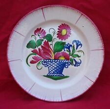 St Clement French Flower Basket Plate Hand Painted Faience 1900's