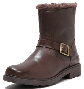 Clarks INES REMI Girls Brown Leather Zipped Ankle Boots 10 - 12 F Fit NEW BOXED