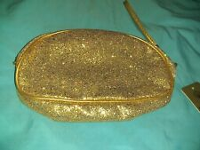 "L' Bri Pure And Natural Gold Glittery Cosmetic Bag Nwt 9.5"" W"