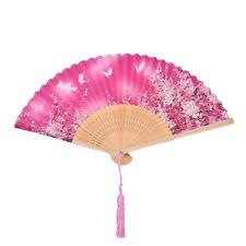 Chinese Hand Held Fan Bamboo Silk Butterfly & Flower Folding Fan Wedding TO