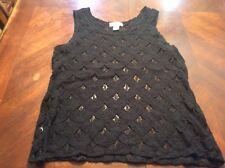 Black Lace Ann Taylor Loft Tank Size M Womens Sheer