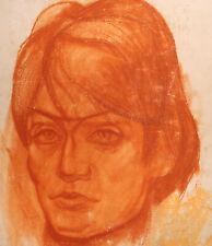 Vintage expressionist man portrait pastel painting