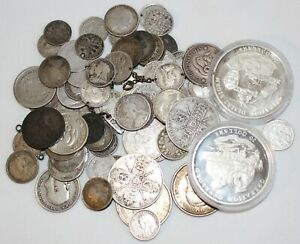8 Troy Oz .925 Silver Content Coins Mixed Lot Assorted Plus Silver Coin Bracelet