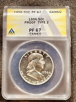 1956 50c Certified Type 2 PF 67 CAMEO Franklin Half Dollar Anacs Certified