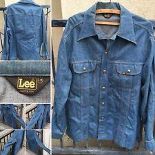 ed95a8edf7d Vintage Lee Jeans Denim Shirt Jacket Made In USA L-R Lee 70s 1970s