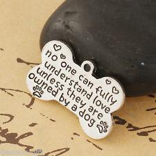 5PCs Sliver Tone Bone Shape Alloy Pendant Carve English Letter For Necklace