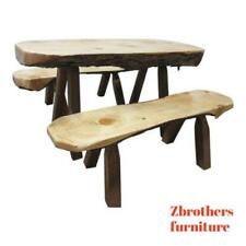 Free Form Slab Wood Live Edge Adirondack Cabin Childs Dining Table 2 Benches Set