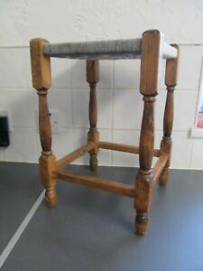 Vintage Original Woven Stool Seat Wood Cottage 44cms high LOFT FIND
