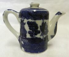 Blue Willow Porcelain Stoneware Tea Pot Kettle Kitchen Pepper Shaker New