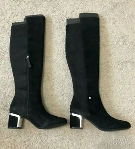 DKNY Women's Cora Knee High Boots Black Suede Size 7.5M - NEW WITH BOX