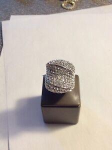 Joan Boyce White Crystal Ring Size 7