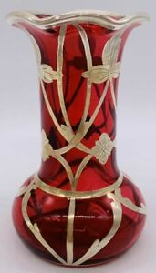 "Impressive Art Noveau Ruby Red Cranberry with Silver Overlay Vase 4 1/4"" Fluted"