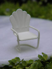 "Miniature Dollhouse FAIRY GARDEN ~ Micro TINY 1¼""  Cream Metal Lawn Chair ~ NEW"