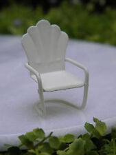 "Miniature Dollhouse FAIRY GARDEN ~ Micro TINY 1¼""  Cream Metal Lawn Chair ~ NEW"