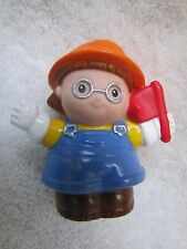 Fisher Price Little People MAGGIE CONSTRUCTION WORKER Brn Shoe Yellow Shirt FLAG