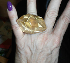 monies gerda lynggaard signed massive Lucite faceted gold foil ring sz 7.5