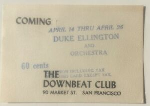 1954 Postcard Advertising Duke Ellington And His Orchestra At The Downbeat Club