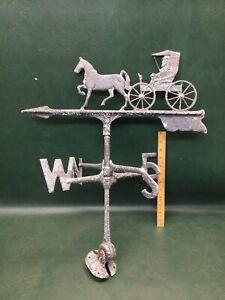 Vintage Weathervane Wind Vane Horse & Buggy Carriage Coachman ~ For Restoration