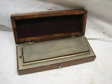 Early Whet Stone Blade/Knife Sharpening Tool w/Wood Flip Box Case Two-Sided