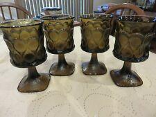 "4 Vintage Noritake SPOTLIGHT Walnut Brown Glass 6"" Water Goblets EUC"
