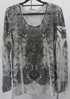 Unity World Wear Women's Gray Paisley Blouse, size XL