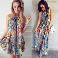 Womens Summer Vintage Boho Mini Maxi Evening Party Beach Floral Dress Sundress