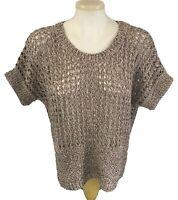 Marisa Christina Women's Short Sleeve Sweater Open Knit Beige Black Size L