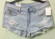 H&M Women's Low Waist Frayed Ripped Mini Blue Denim Shorts Hotpants Fit 12